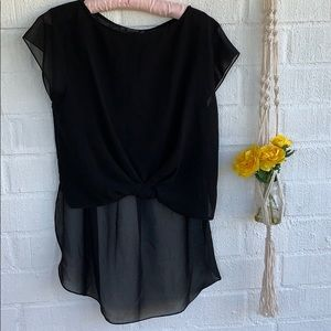 Zara Black Sheer High Low Blouse